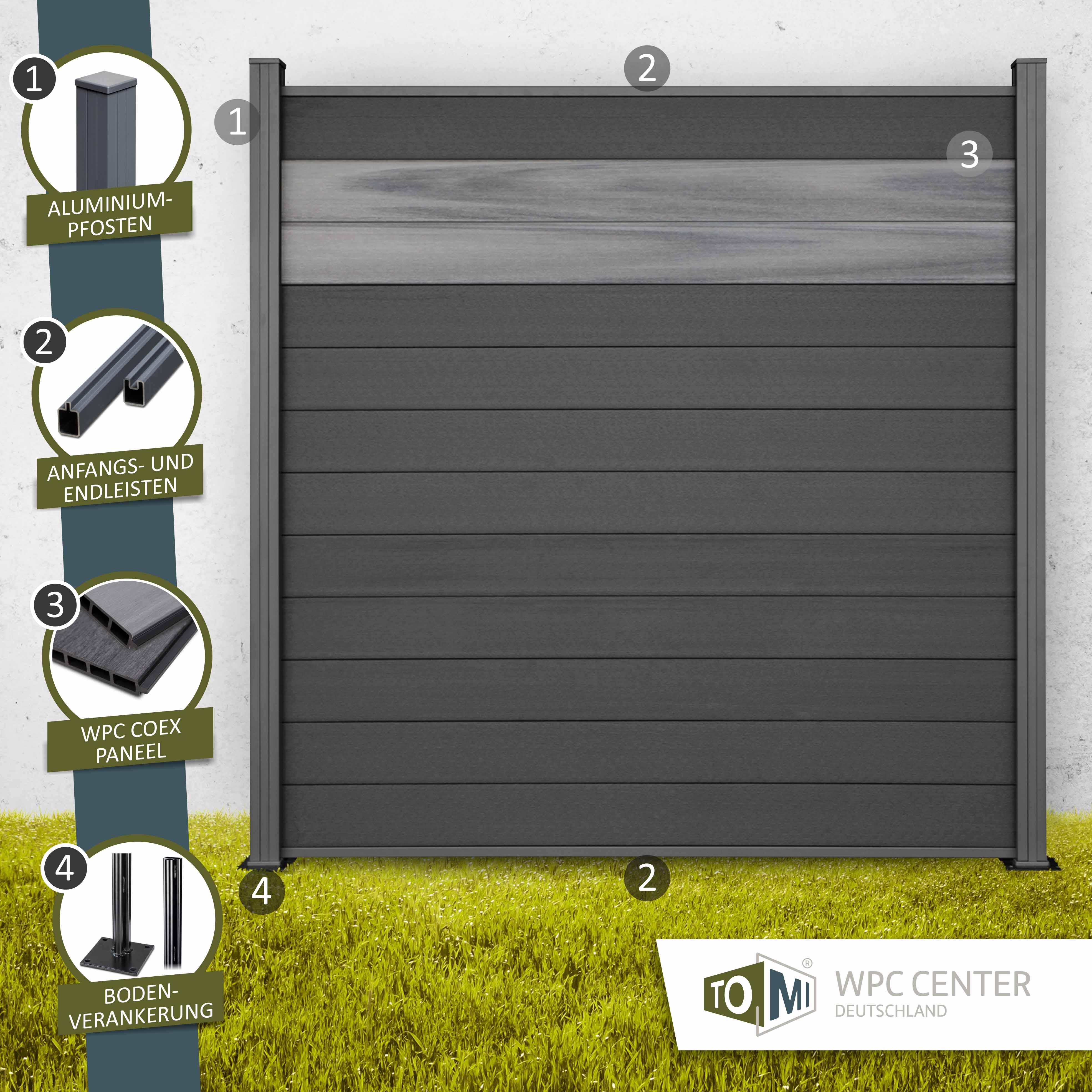 WPC COEX Premium Line BiColor Zaun Sichtschutzzaun Anthrazit Edelgrau