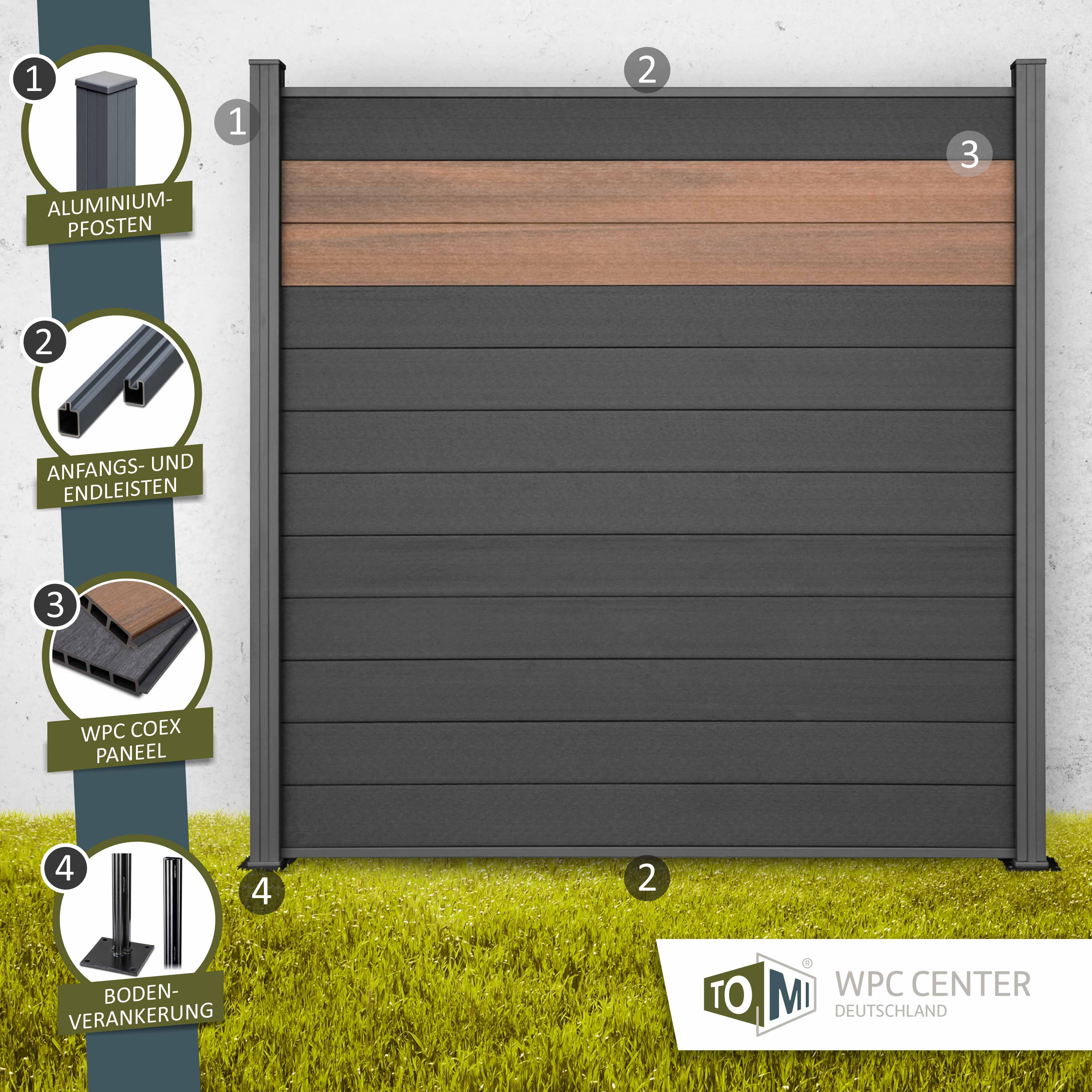 WPC COEX Premium Line BiColor Zaun Sichtschutzzaun Anthrazit Nussbraun