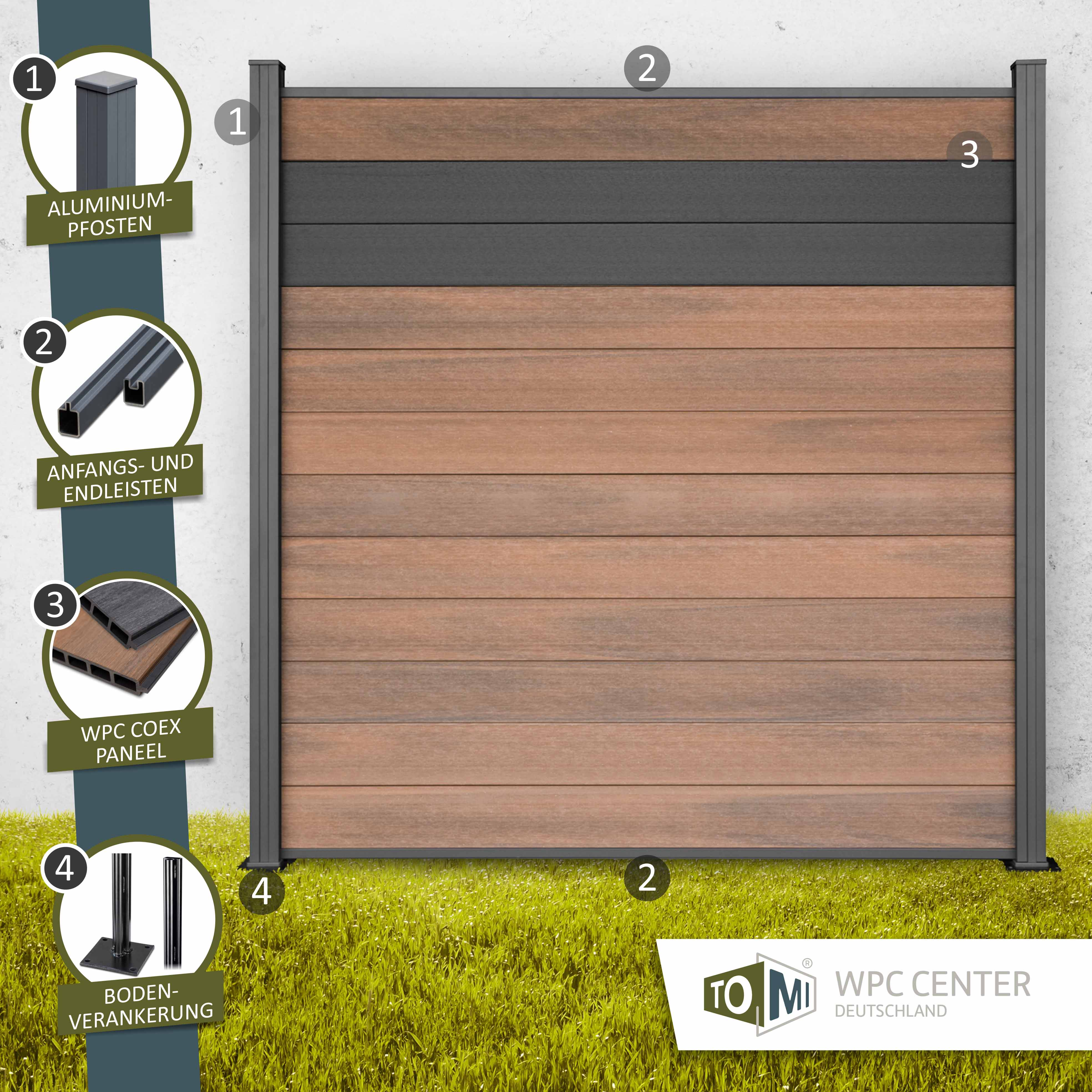 Wpc Coex Premium Line Bicolor Zaun Sichtschutzzaun Nussbraun Anthrazit