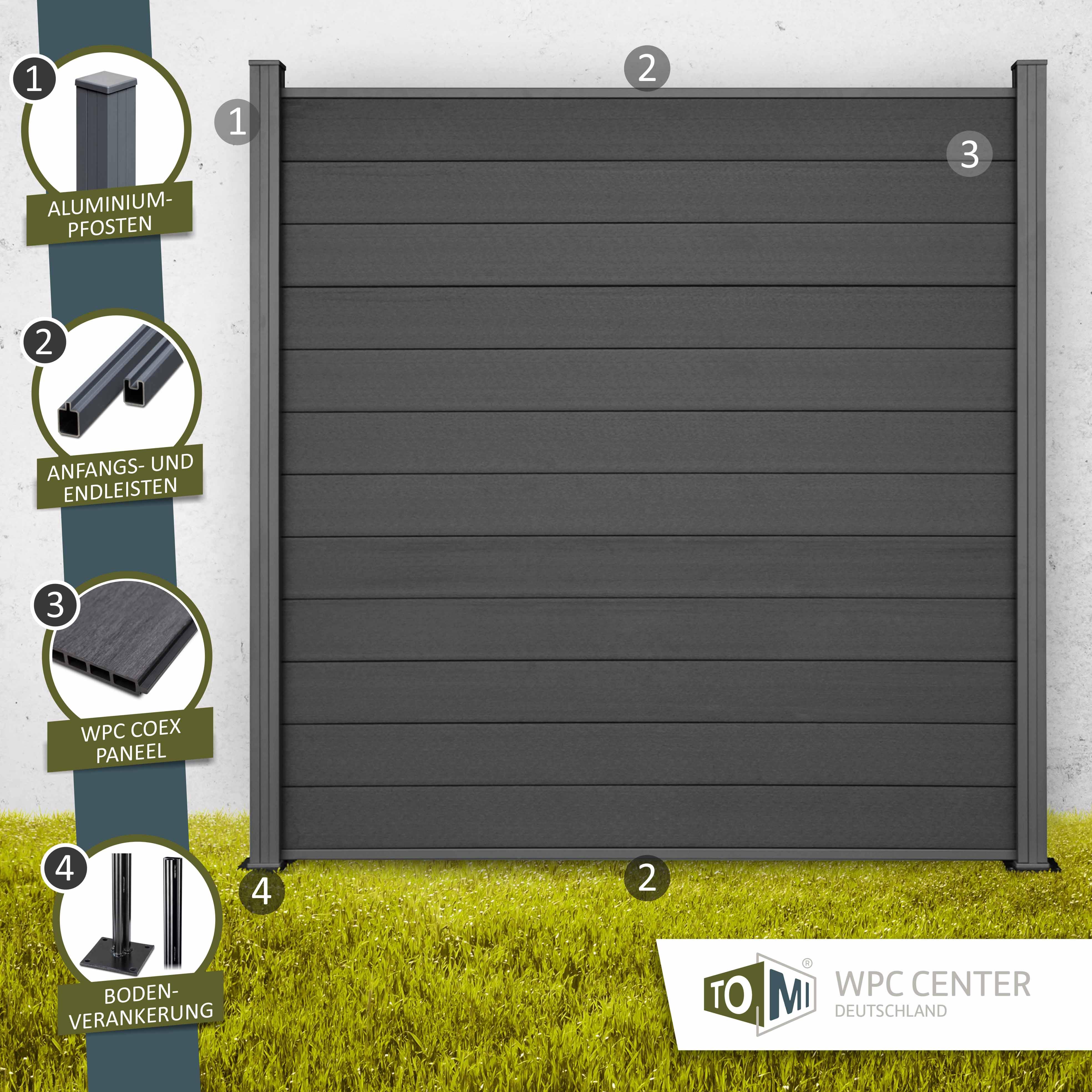 WPC COEX Premium Line Zaun Sichtschutzzaun Anthrazit