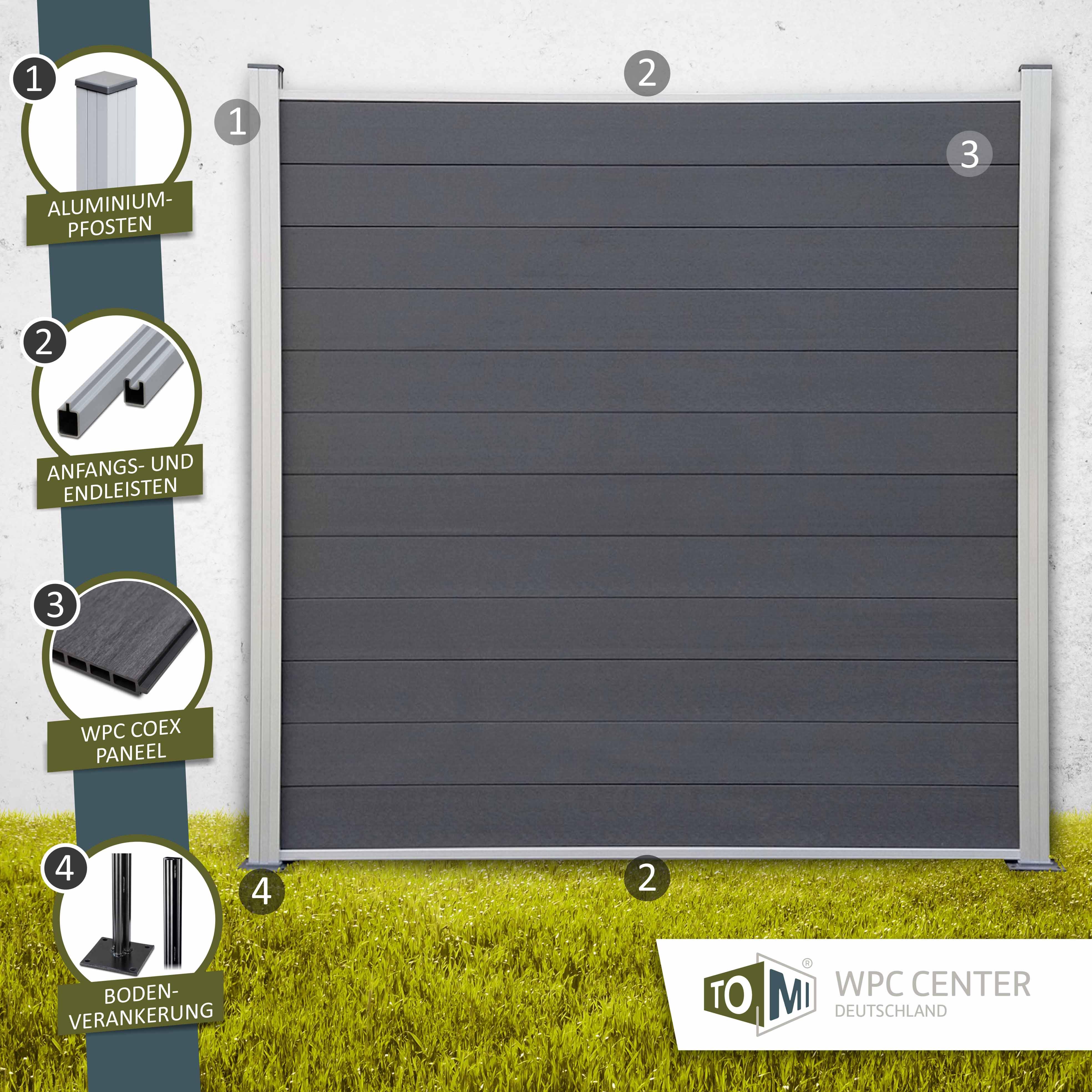 WPC COEX Sichtschutzzaun Premium Line Anthrazit Silber