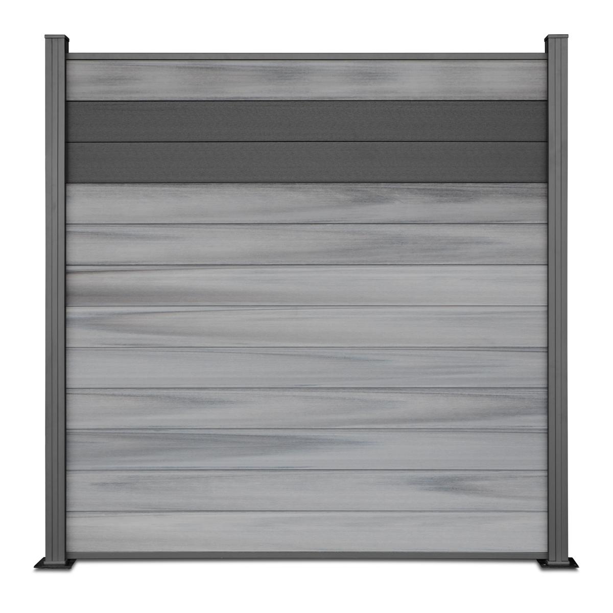 TOMI WPC COEX Premium Line BiColor Zaun Sichtschutzzaun Grau Anthrazit