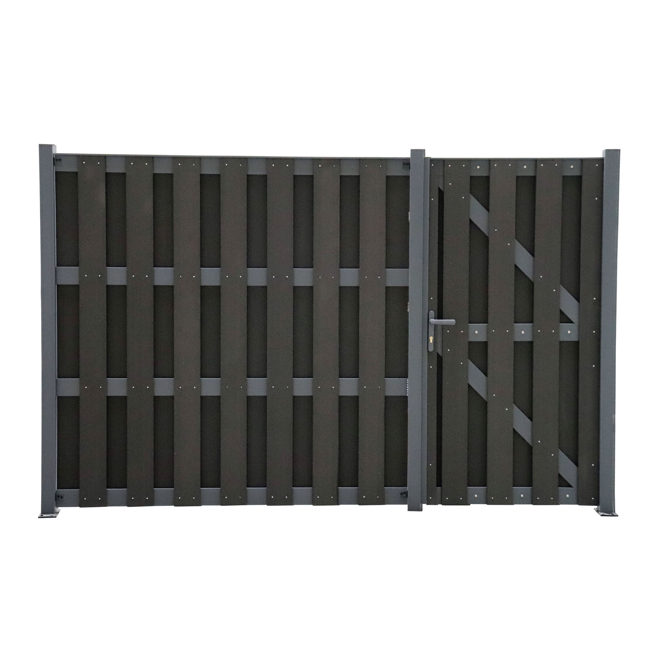 WPC Sichtschutzzaun Black Line Komplettset mit WPC Tür Tor Gartentor