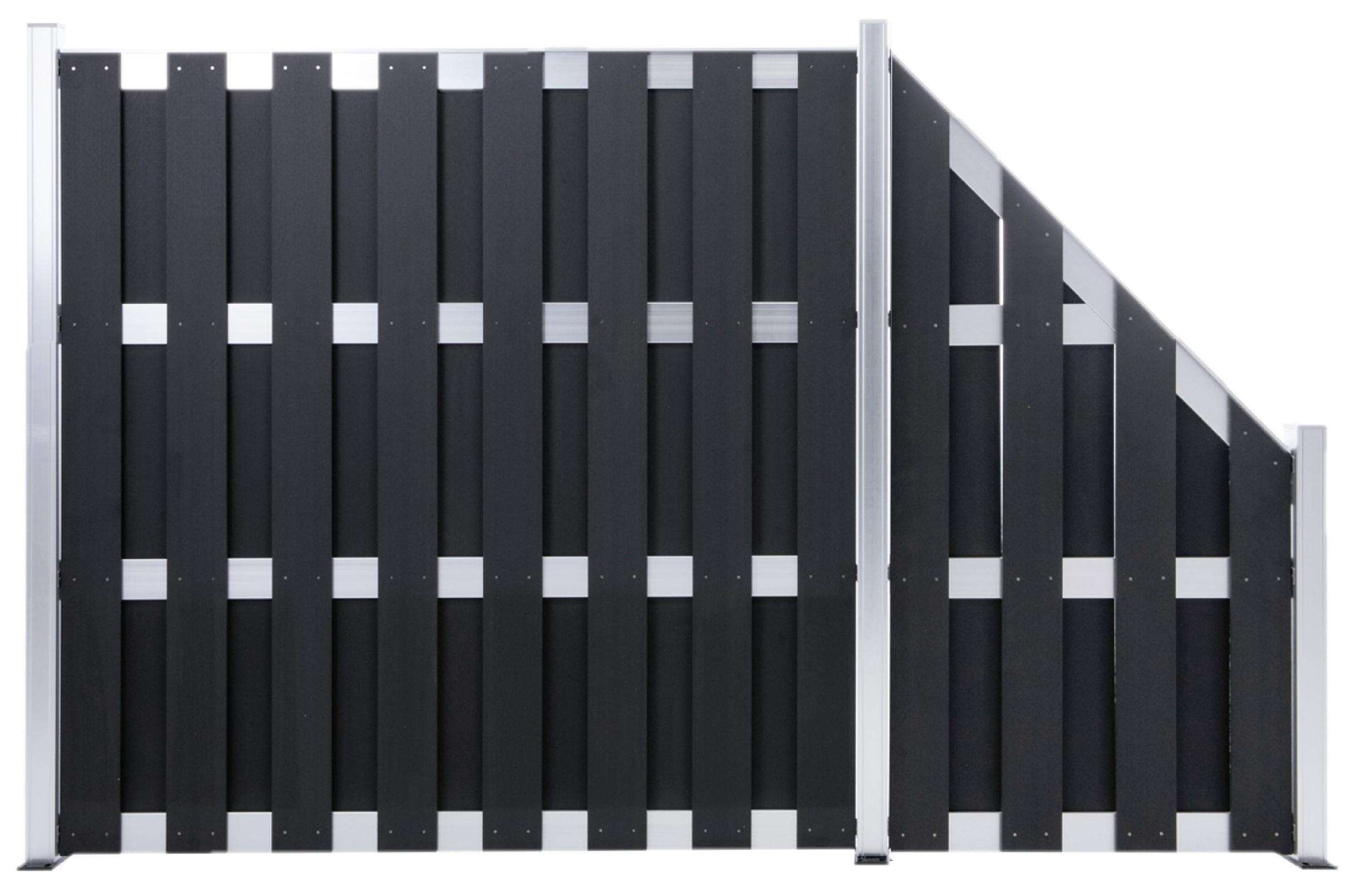 WPC Silver Line Fertigzaunelement  Abschlusselement / Schrägelement 90 x 180 cm