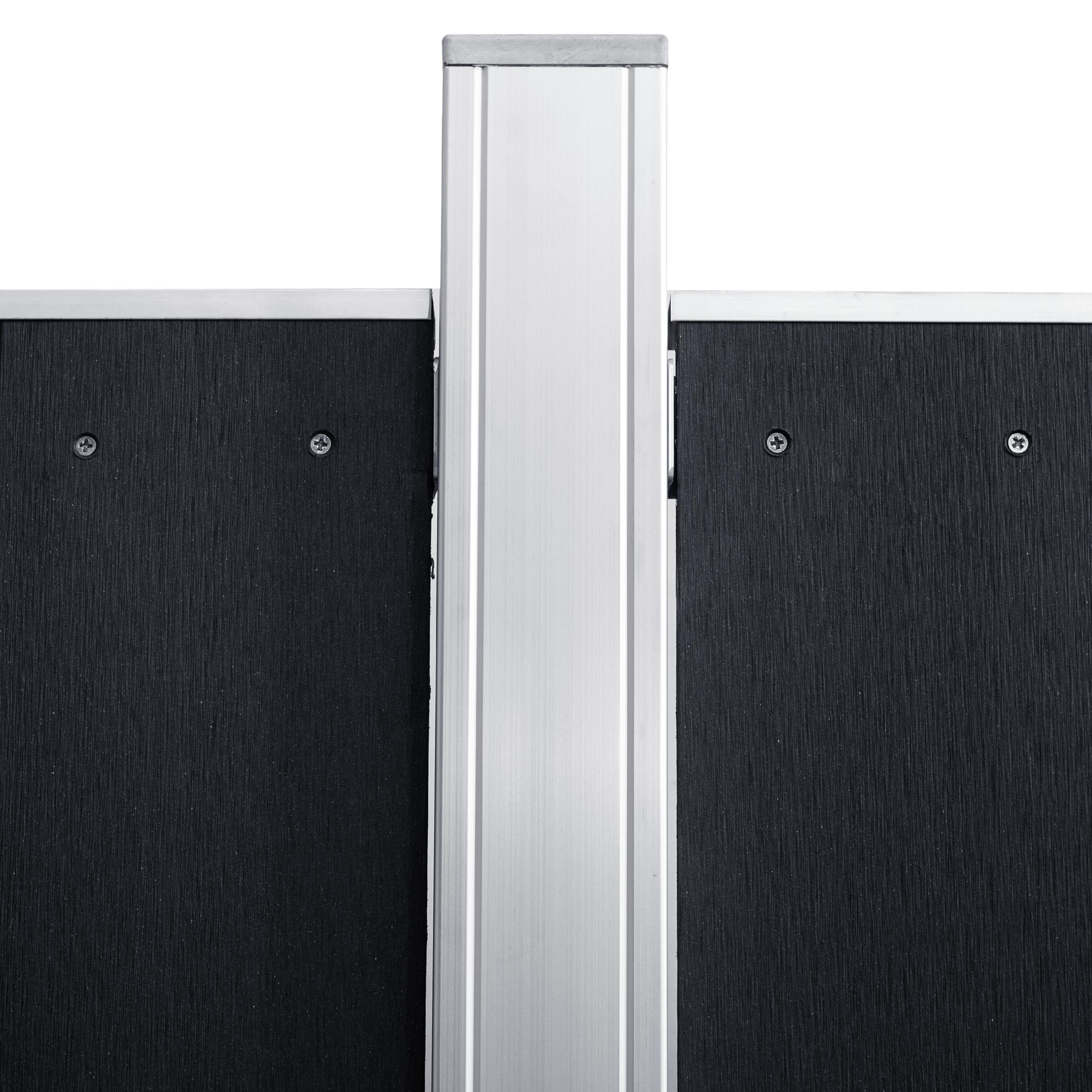 tomi wpc silver line sichtschutzzaun lamellenzaun zaun mit wpc t r tor zauntor ebay. Black Bedroom Furniture Sets. Home Design Ideas
