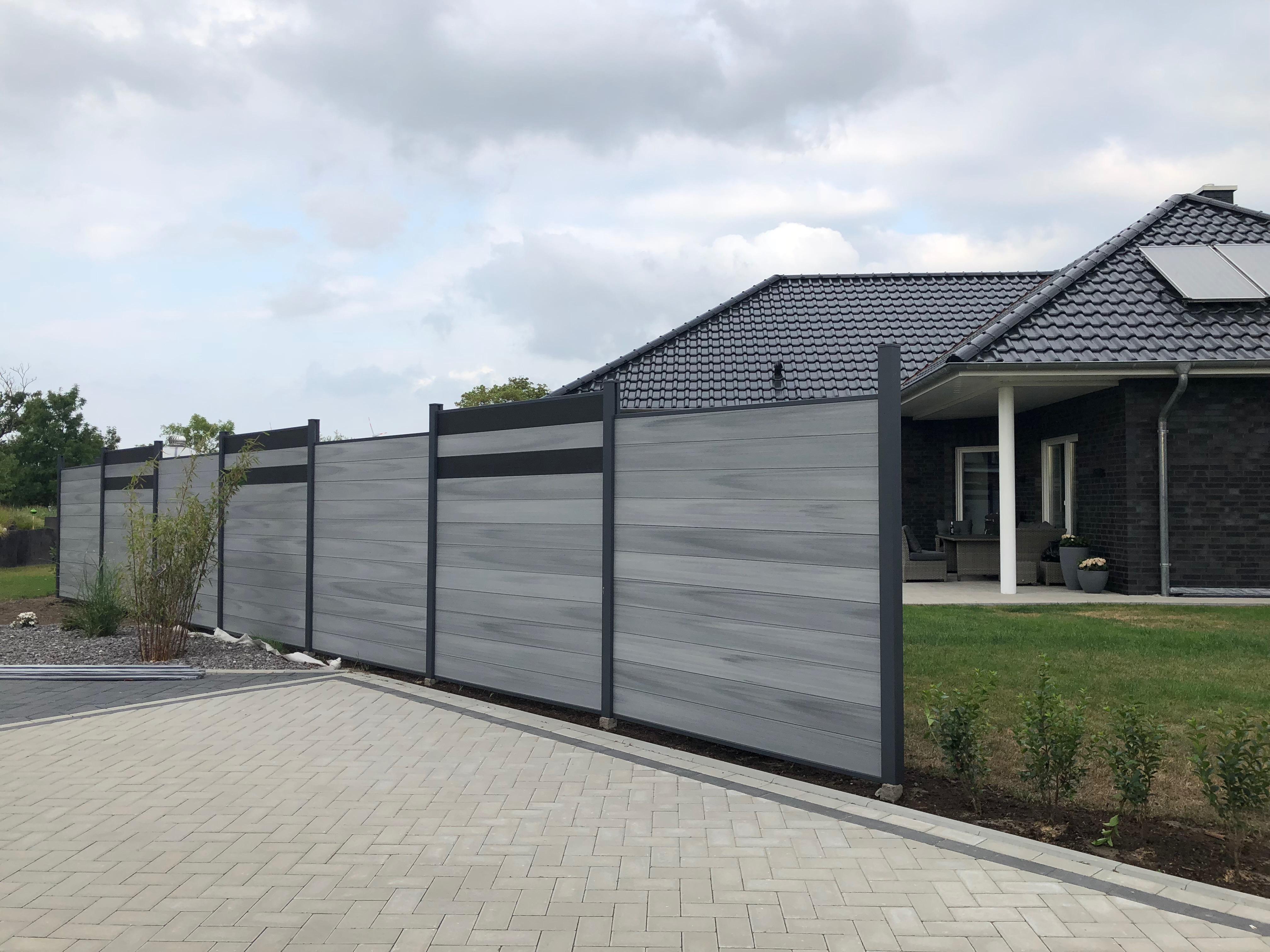 Tomi Wpc Coex Premium Line Edelgrau Zaun Sichtschutzzaun