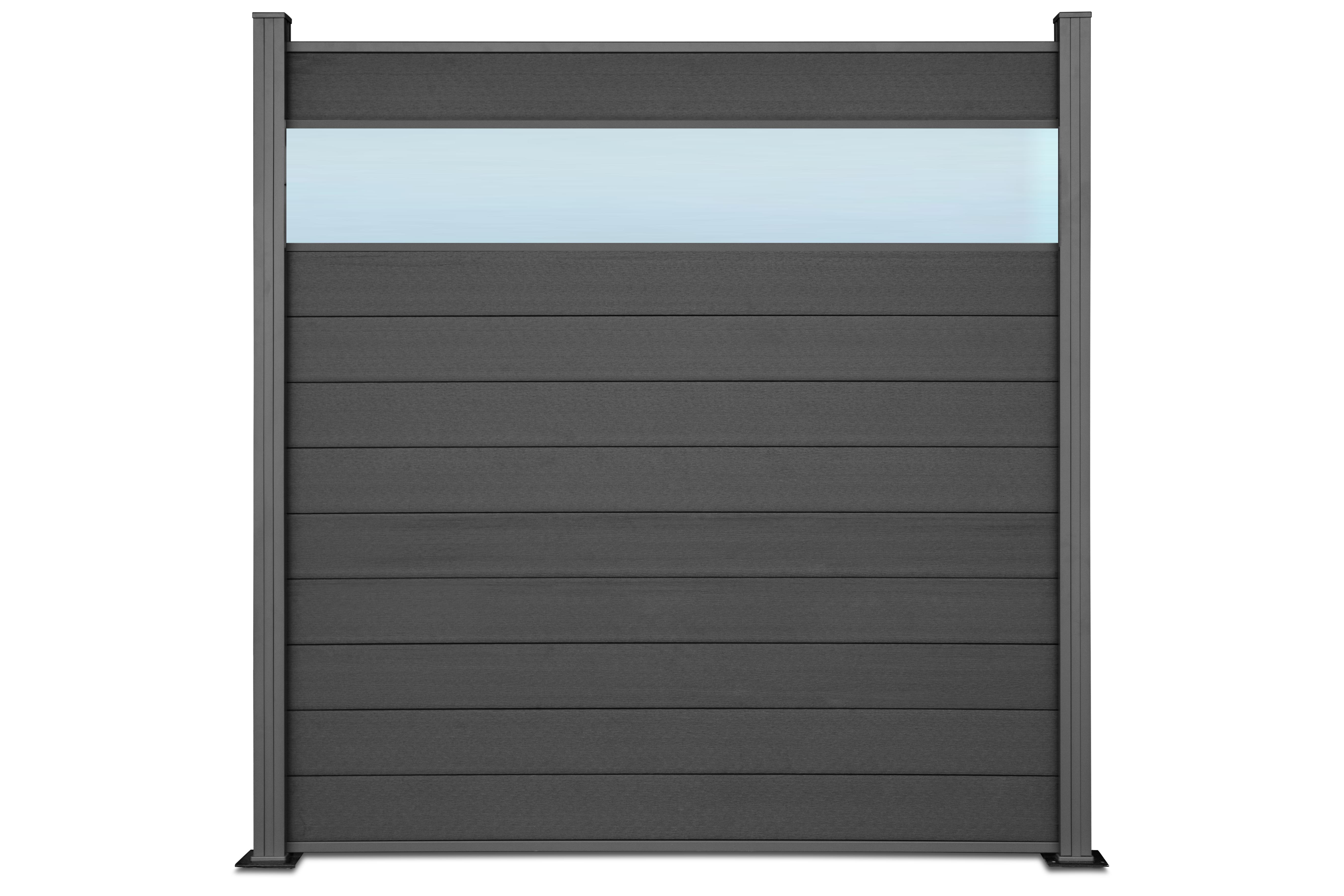TOMI WPC Premium Line Sichtschutzzaun mit Plexiglas-Dekorationseinsatz