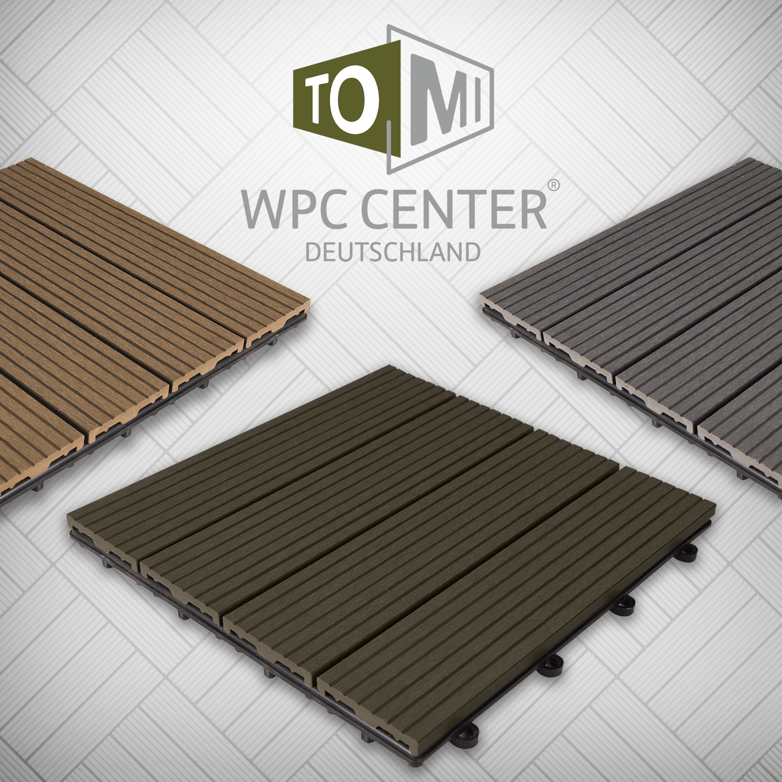 WPC Klickfliese Holzoptik 4 Dielen Design Anthrazit Braun Grau