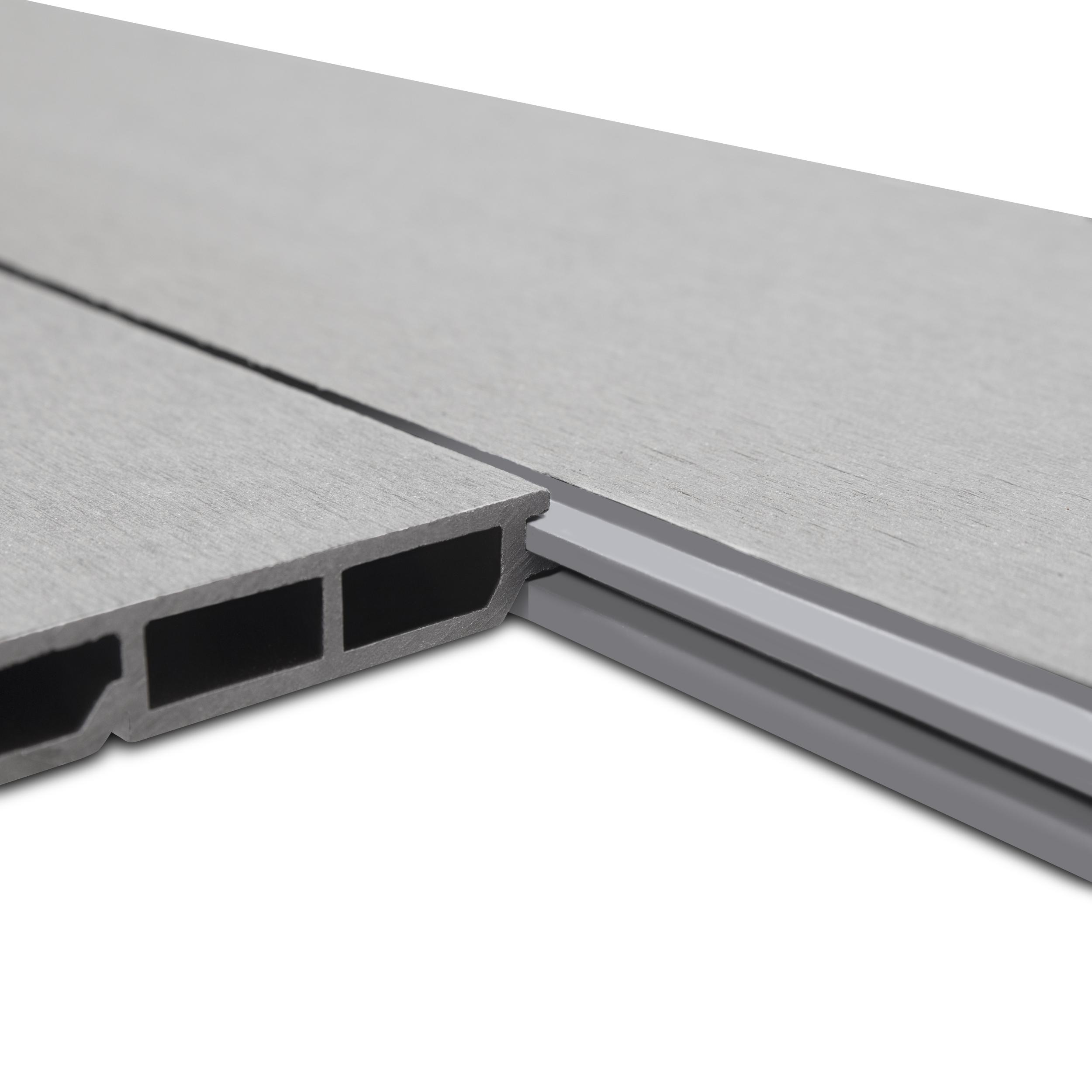 WPC Edition Line Sichtschutzzaun Einzelpaneel 180 x 15 cm Grau